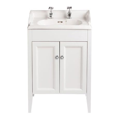 Heritage - Caversham Freestanding Dorchester Square Vanity Unit with Chrome Handles & Basin - White