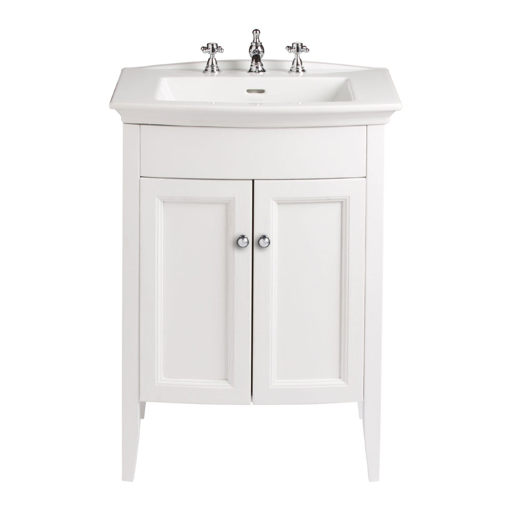 Heritage - Caversham Freestanding Blenheim Vanity Unit with Chrome Handles & 3TH Basin - White Ash profile large image view 1