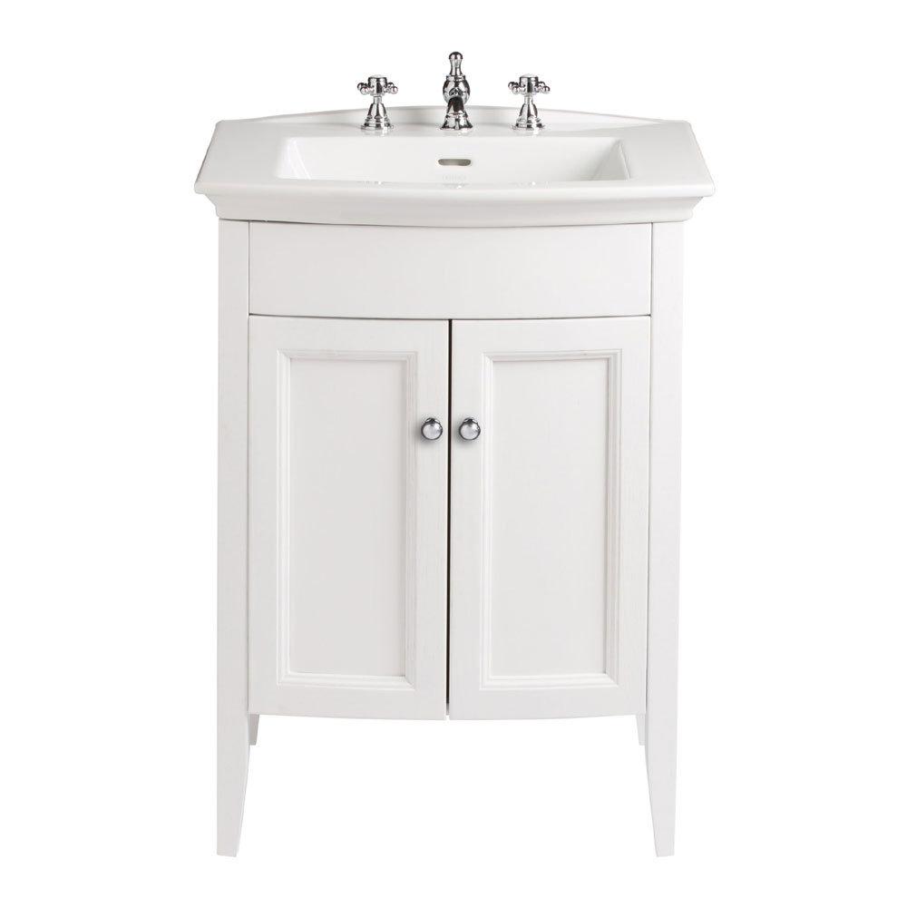 Heritage - Caversham Freestanding Blenheim Vanity Unit with Chrome Handles & 3TH Basin - White Ash Large Image