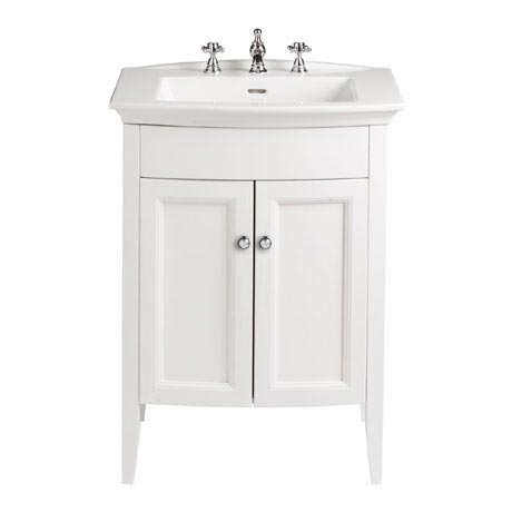 Heritage - Caversham Freestanding Blenheim Vanity Unit with Chrome Handles & 3TH Basin - White Ash