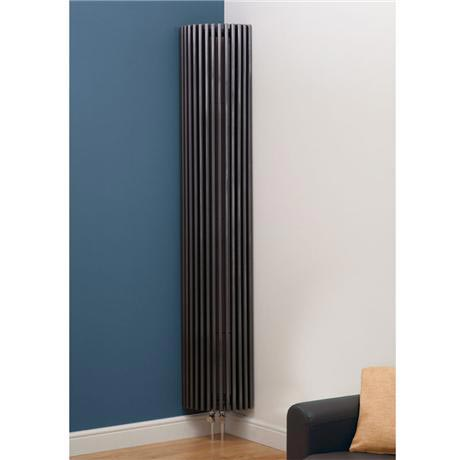 Kansas Vertical Curved Designer Radiator - 2000mm x 351mm - Anthracite