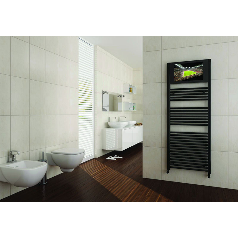 San Francisco Designer Heated Towel Rail with Integrated LCD TV Feature Large Image