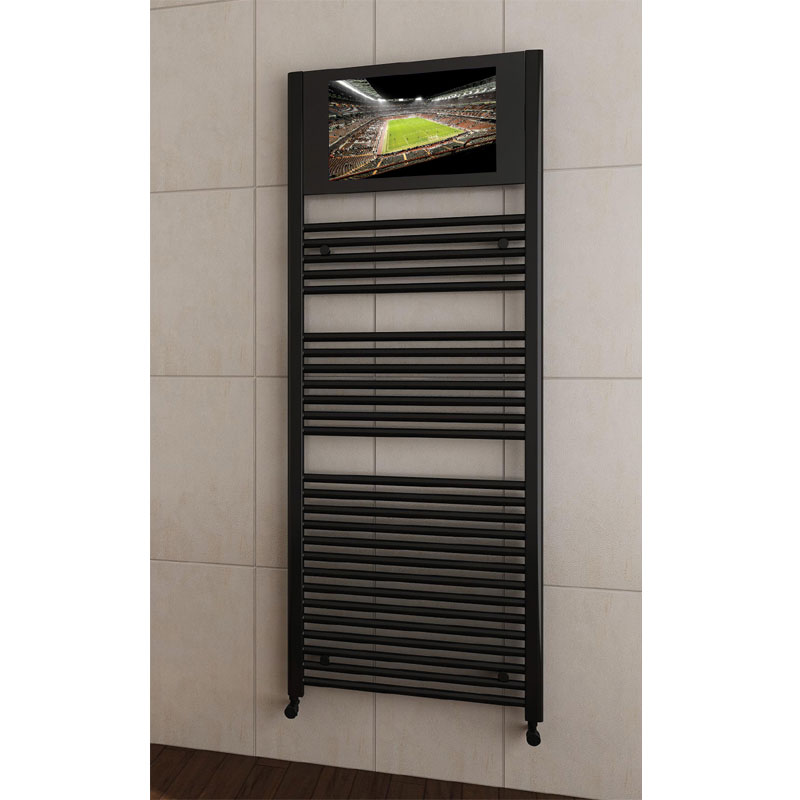 San Francisco Designer Heated Towel Rail with Integrated LCD TV - SFR180-0340 - Positioned against a white tiled bathroom wall
