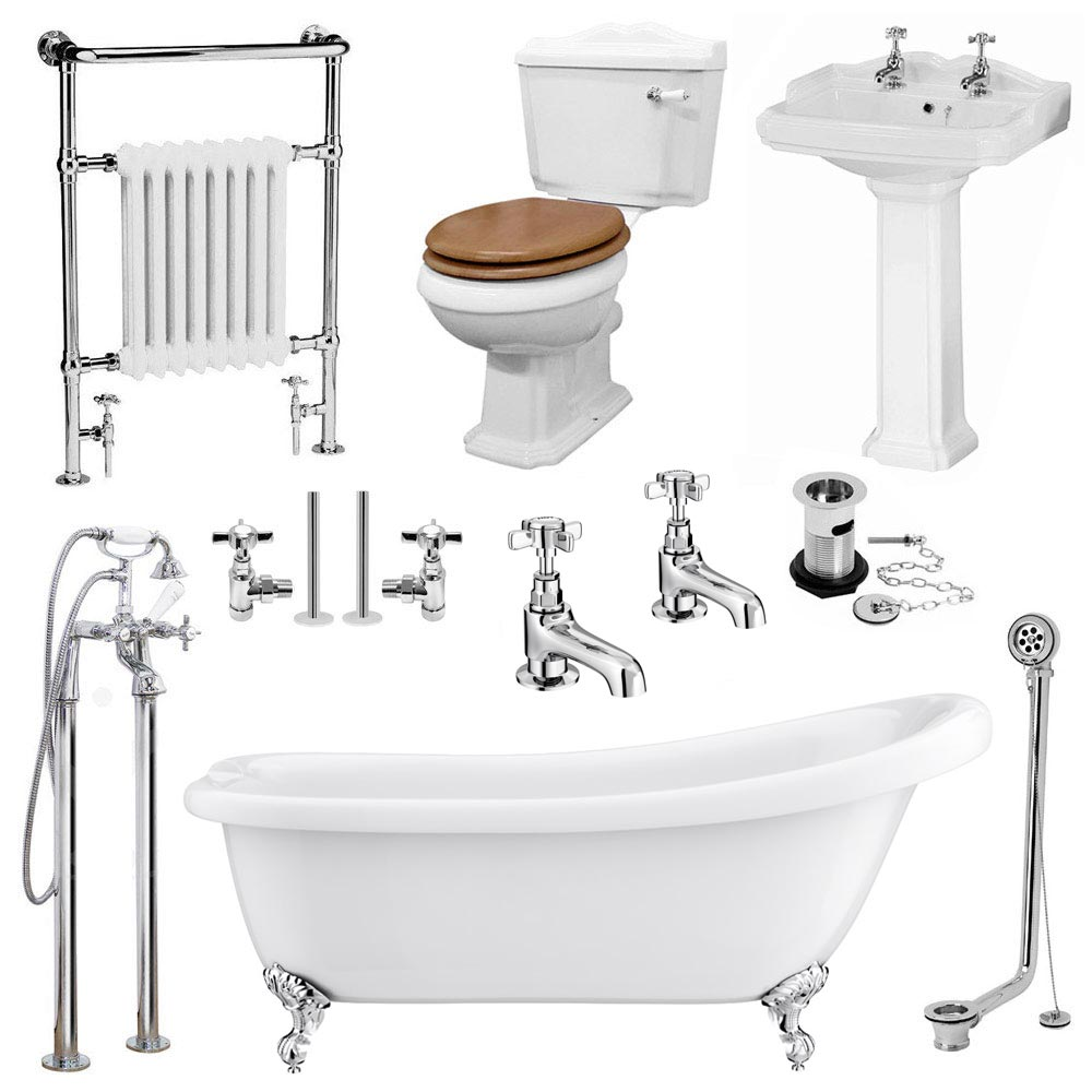 Kensington Traditional Complete Roll Top Bathroom Package (1700mm) Large Image