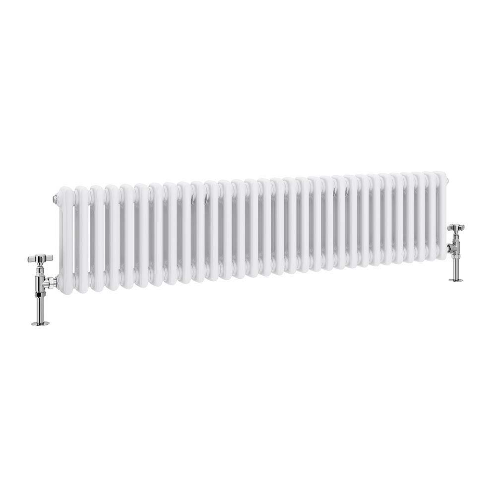Keswick Cast Iron Style Traditional 2 Column White Radiator (300 x 1340mm) profile large image view 1