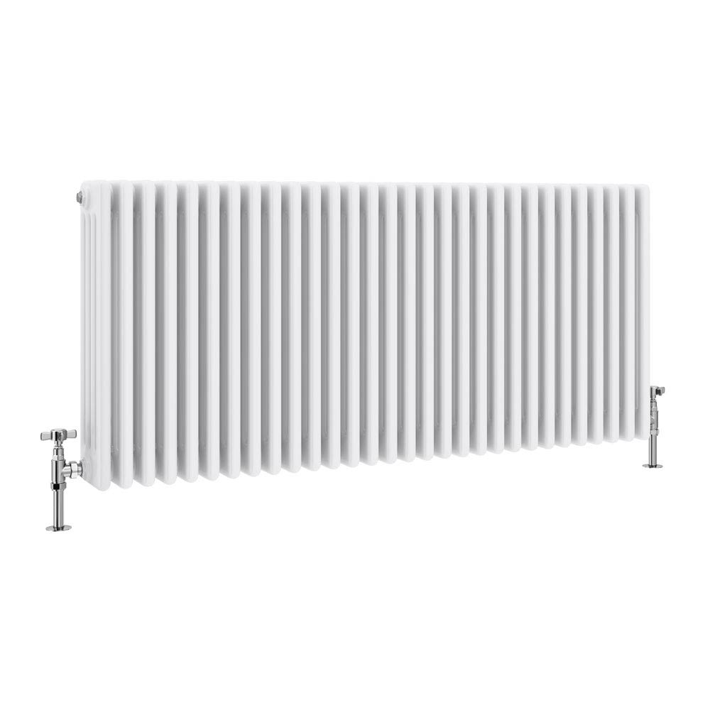 Keswick Cast Iron Style Traditional 4 Column White Radiator (600 x 1340mm) profile large image view 1