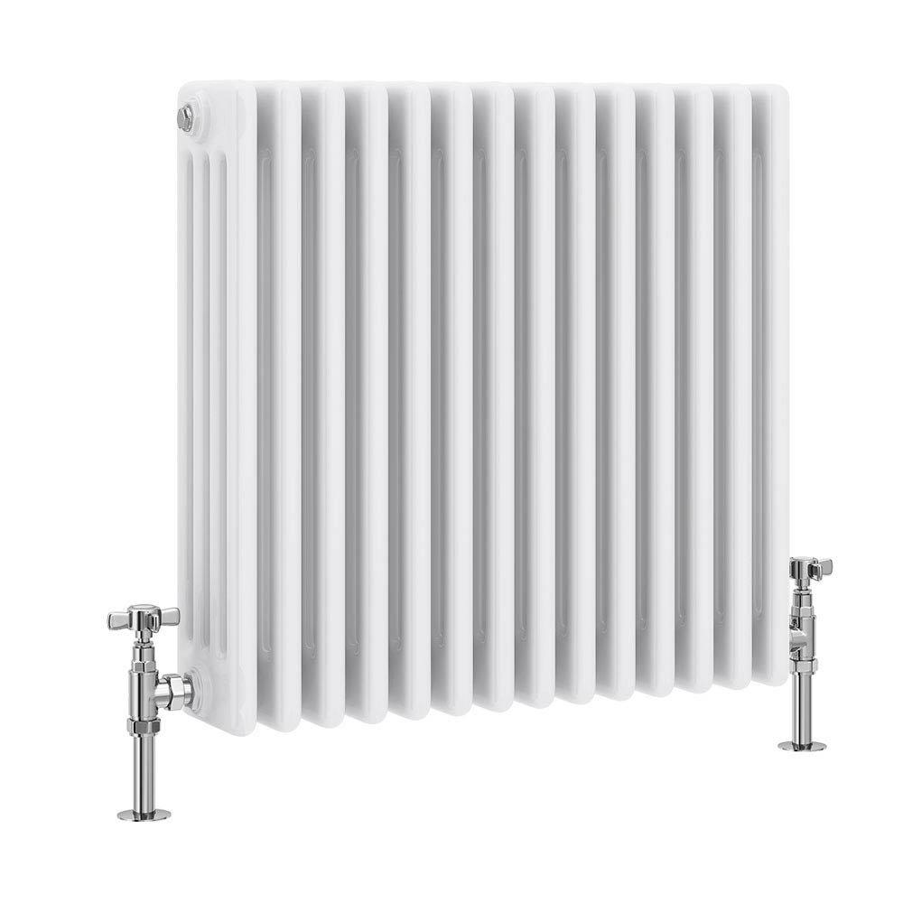 Keswick Cast Iron Style Traditional 4 Column White Radiator (600 x 636mm) Large Image