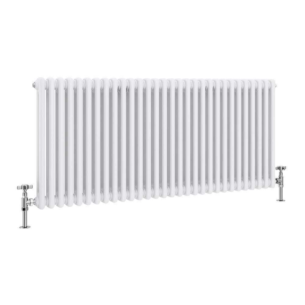 Keswick Cast Iron Style Traditional 2 Column White Radiator (600 x 1340mm) profile large image view 1