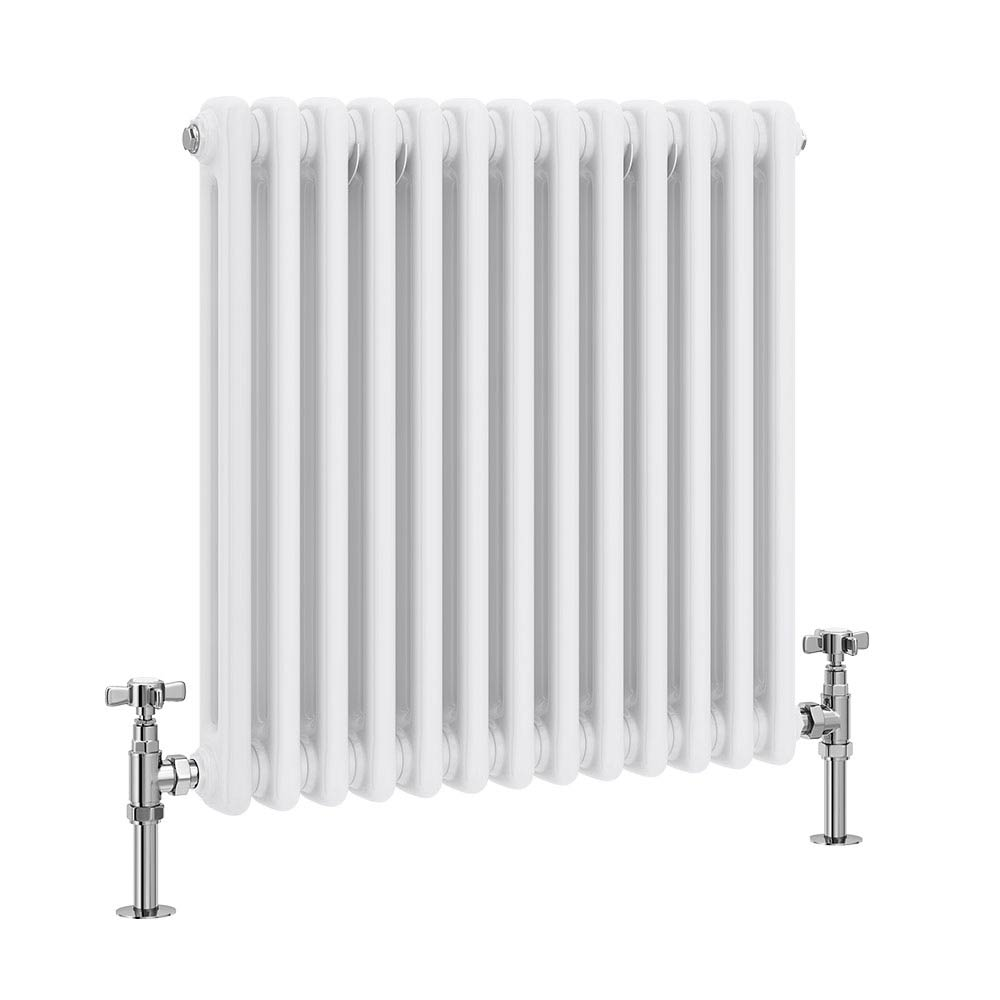 Keswick Cast Iron Style Traditional 2 Column White Radiator (600 x 592mm) profile large image view 1