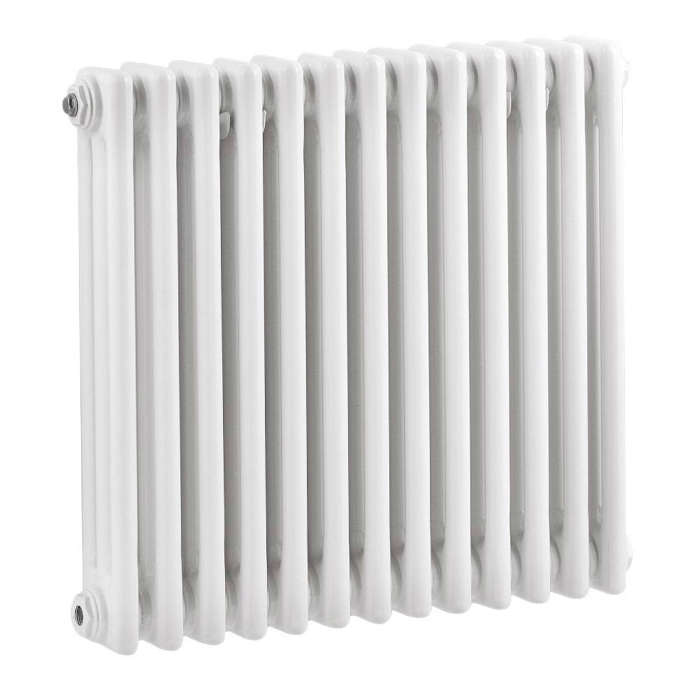 Keswick Cast Iron Style Traditional 3 Column White Radiator (600 x 643mm) Large Image