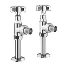 Keswick Chrome Angled Traditional Radiator Valves Medium Image