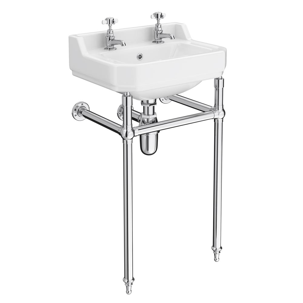 Keswick Traditional Basin & Chrome Wash Stand - 500mm Wide profile large image view 1