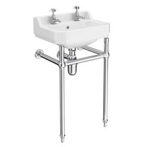 Keswick Traditional Basin & Chrome Wash Stand - 500mm Wide Medium Image