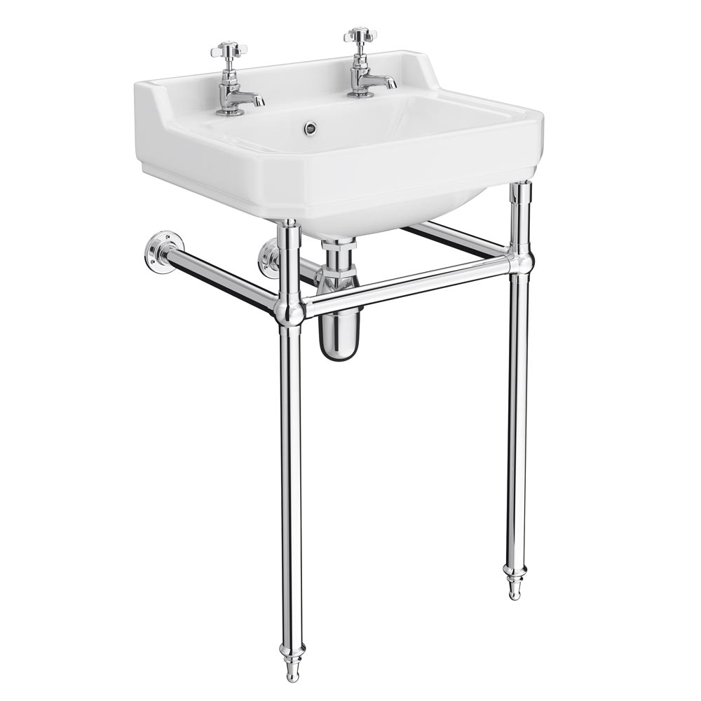 Keswick Traditional Basin & Chrome Wash Stand - 560mm Wide Large Image