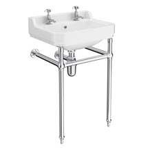 Keswick Traditional Basin & Chrome Wash Stand - 560mm Wide Medium Image