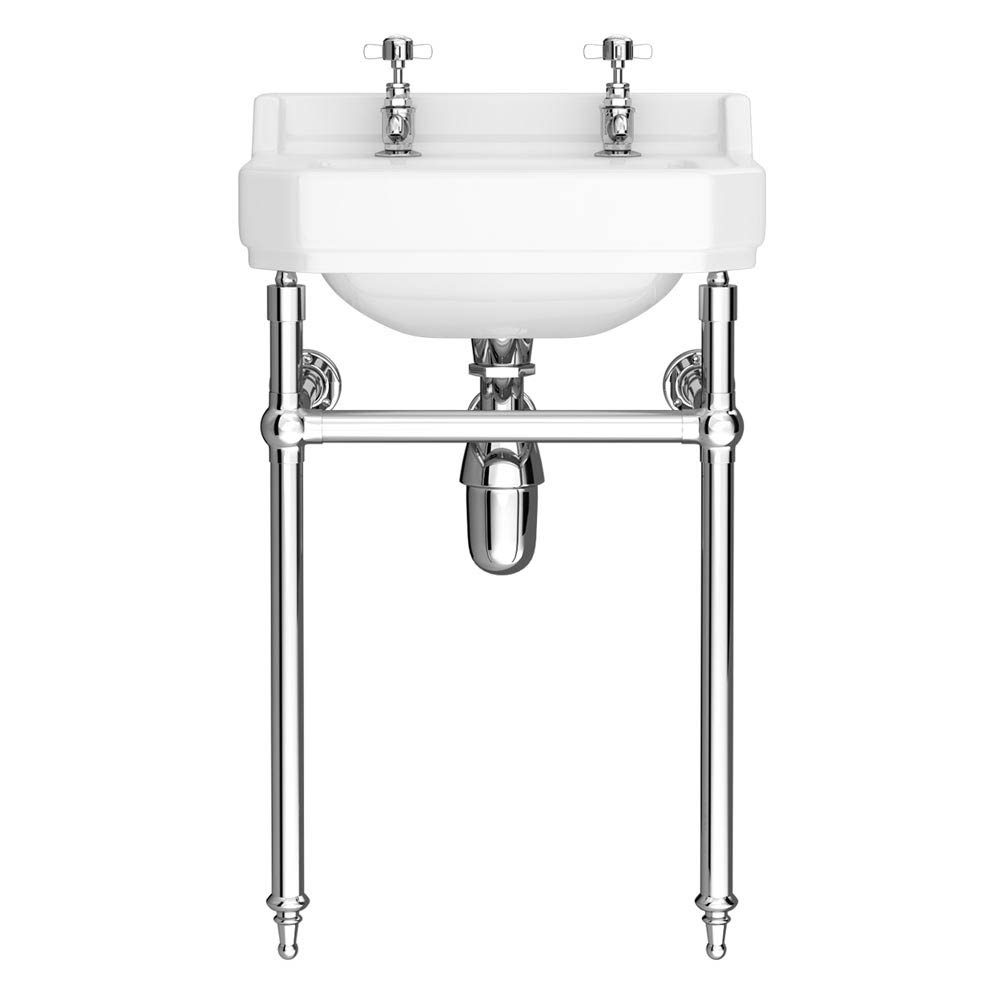 Keswick Traditional Basin & Chrome Wash Stand - 560mm Wide profile large image view 2