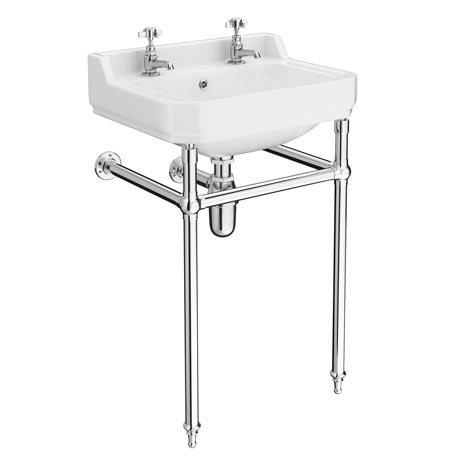 Keswick Traditional Basin & Chrome Wash Stand - 560mm Wide