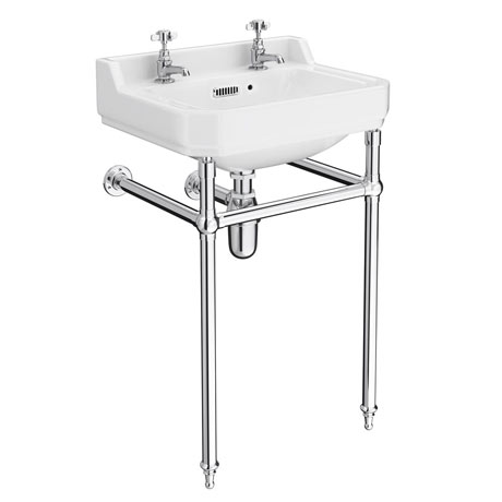 Keswick Traditional Basin & Chrome Wash Stand - 560mm Wide