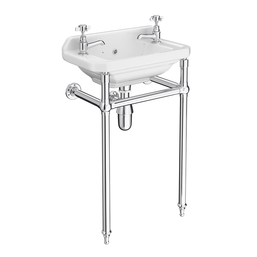 Keswick Traditional Cloakroom Basin 2TH & Chrome Wash Stand - 515mm Wide Large Image
