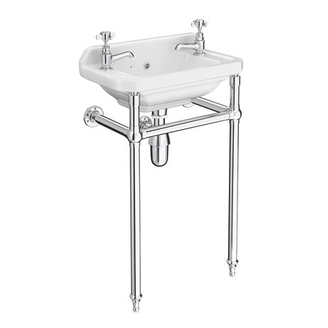 Keswick Traditional Cloakroom Basin 2TH & Chrome Wash Stand - 515mm Wide