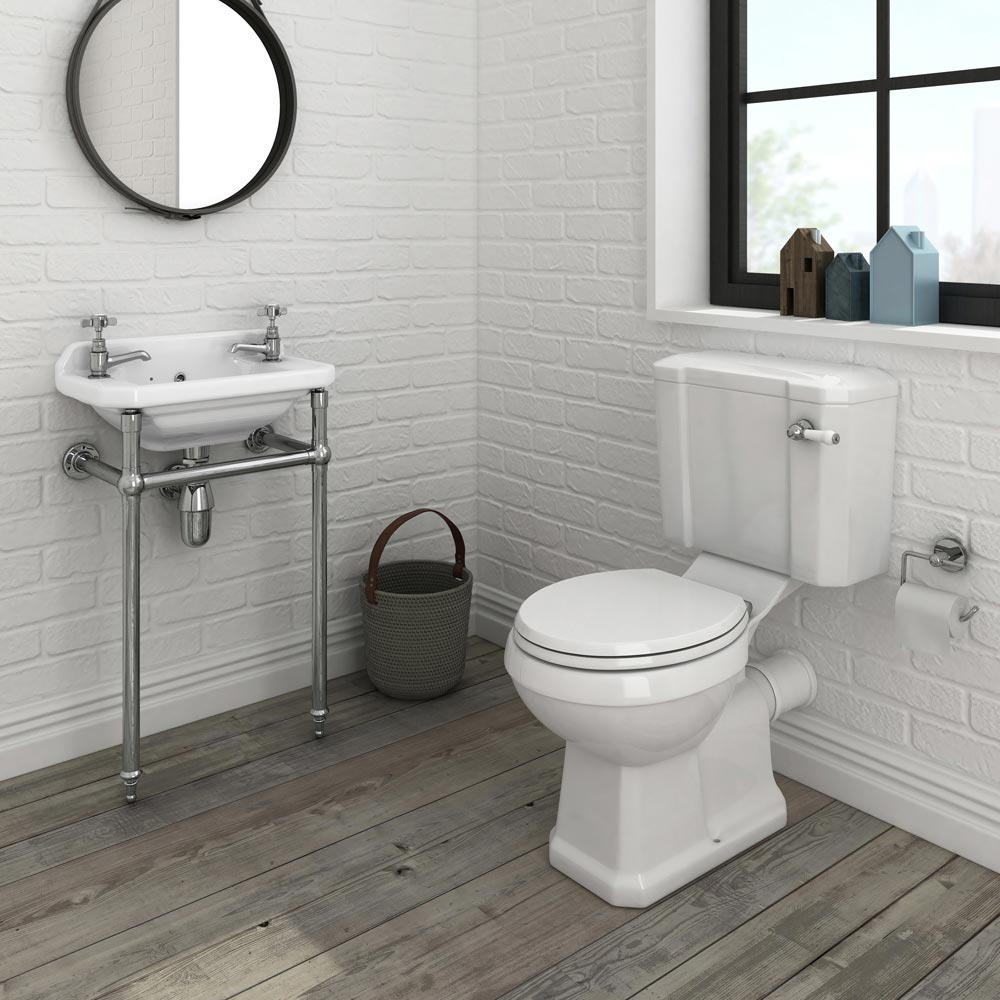 Keswick Traditional Cloakroom Basin 2TH & Chrome Wash Stand - 515mm Wide Profile Large Image