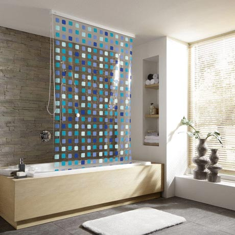 Kleine Wolke - Vinyl Blue Squares Shower Roller Blind W1340 x H2400mm (Parts A+B)