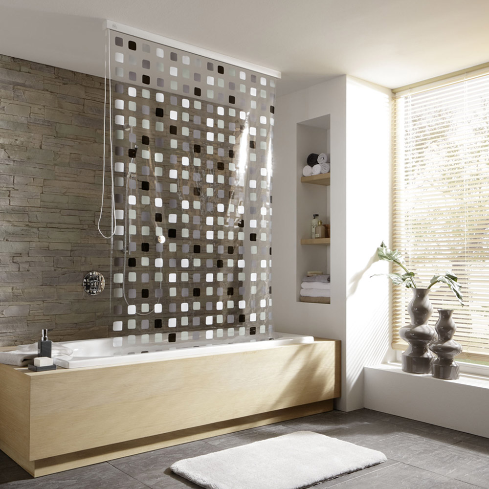 Kleine Wolke - Vinyl Grey Squares Shower Roller Blind W1340 x H2400mm (Parts A+B) profile large image view 1
