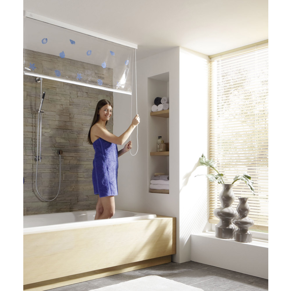 Kleine Wolke - Vinyl Snow White Shower Roller Blind W1340 x H2400mm (Parts A+B) profile large image view 2