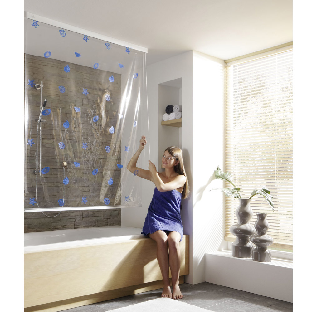 Kleine Wolke - Vinyl Snow White Shower Roller Blind W1340 x H2400mm (Parts A+B) profile large image view 3