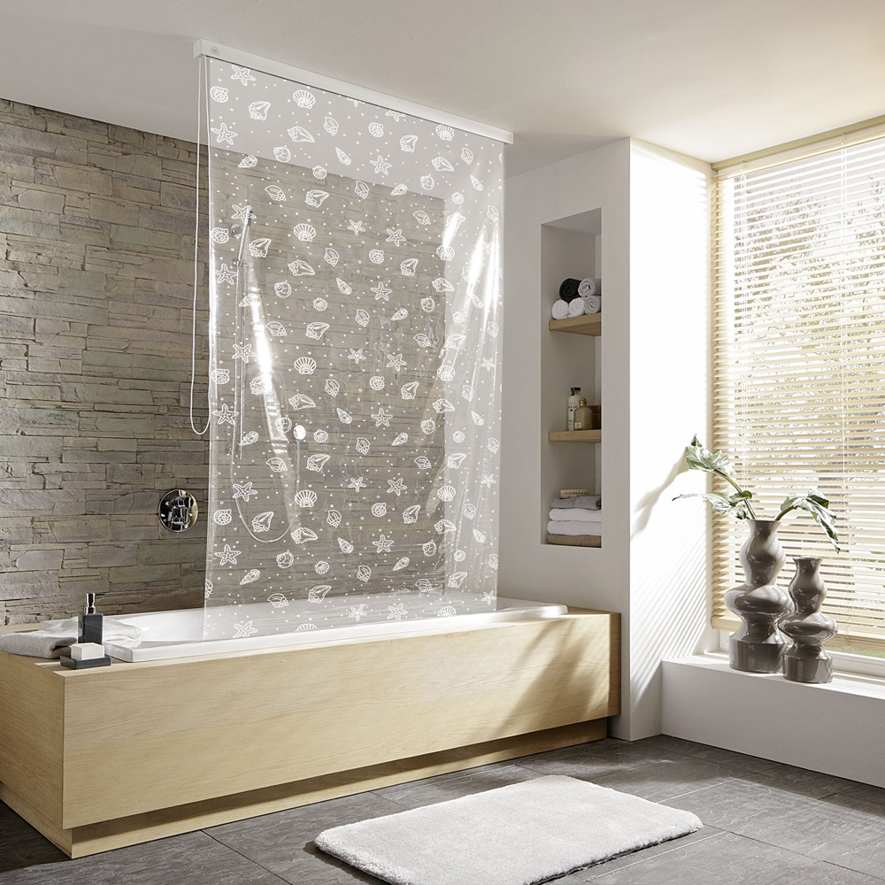 Kleine Wolke - Vinyl Snow White Shower Roller Blind W1340 x H2400mm (Parts A+B) profile large image view 1