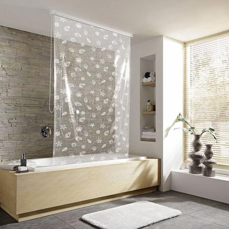 Kleine Wolke - Vinyl Snow White Shower Roller Blind W1340 x H2400mm (Parts A+B)