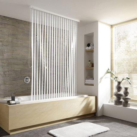 Kleine Wolke - Vinyl White Stripe Shower Roller Blind W1340 x H2400mm (Parts A+B)