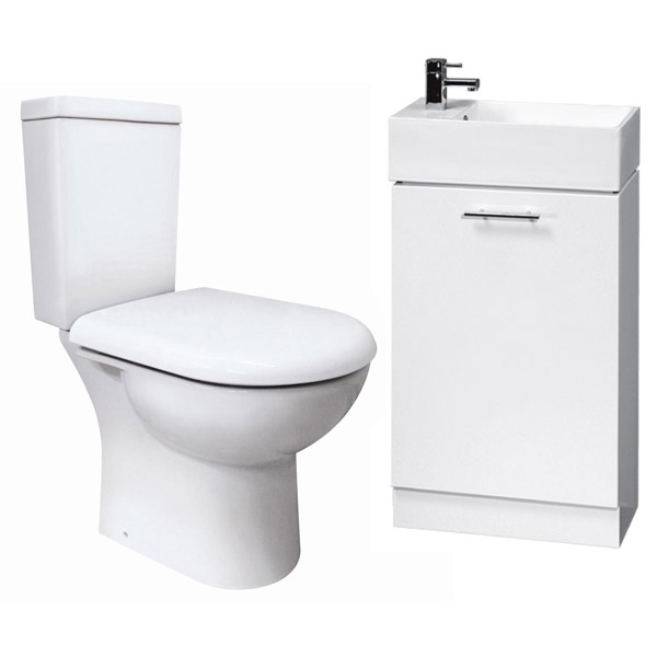 Knedlington Short Projection Toilet with 480mm Cabinet and Basin Set Large Image