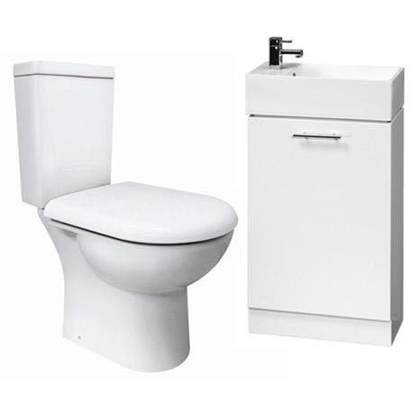 Knedlington Short Projection Toilet with 480mm Cabinet and Basin Set