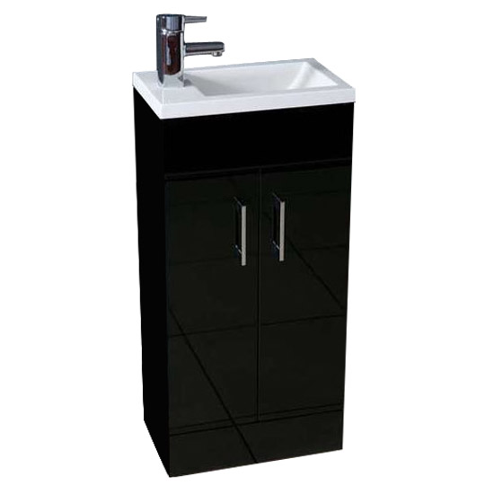 Kobe Cloakroom Floor Standing Unit with Resin Basin W400 x D250mm - Gloss Black Large Image