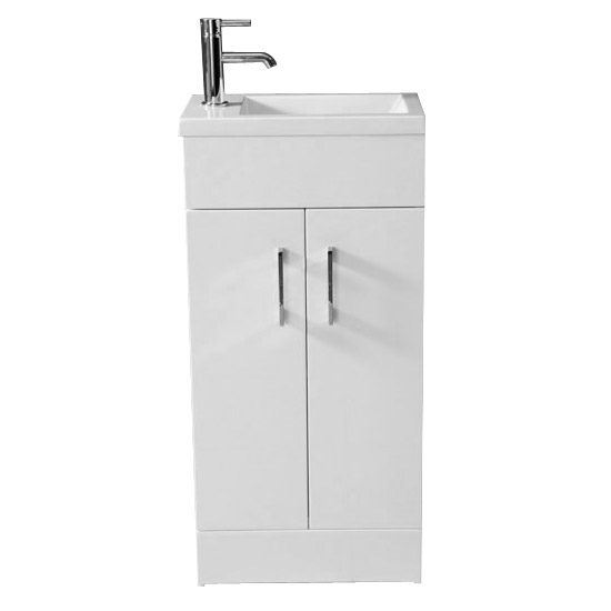 Kobe Cloakroom Floor Standing Unit with Resin Basin W400 x D250mm - Gloss White Large Image