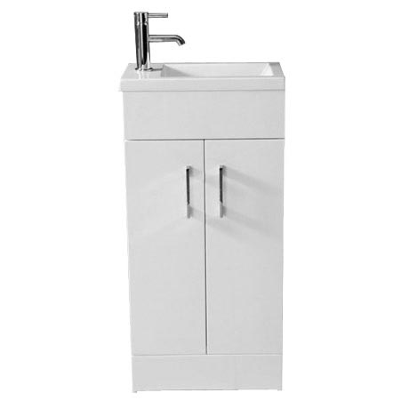 Kobe Cloakroom Floor Standing Unit with Resin Basin W400 x D250mm - Gloss White