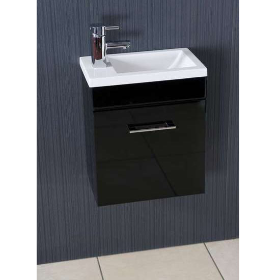 Kobe Cloakroom Wall Mounted Unit with Resin Basin W400 x D250mm - Gloss Black Feature Large Image