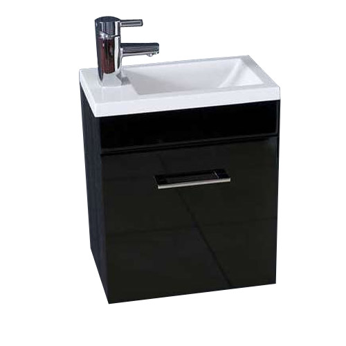 Kobe Cloakroom Wall Mounted Unit with Resin Basin W400 x D250mm - Gloss Black Large Image