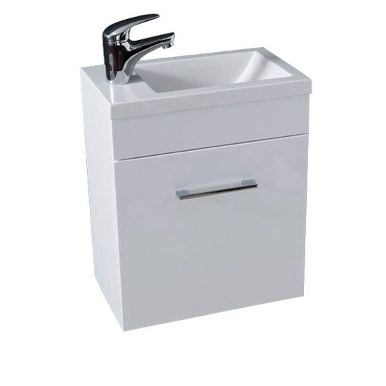 Kobe Cloakroom Wall Mounted Unit with Resin Basin W400 x D250mm - Gloss White Large Image