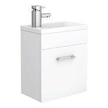 Kobe Cloakroom Wall Mounted Unit with Resin Basin W400 x D250mm - Gloss White Medium Image