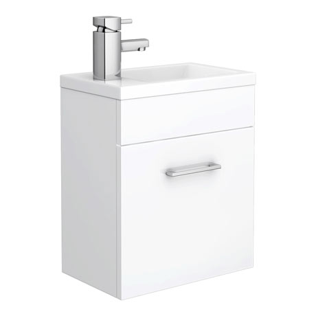 Kobe Cloakroom Wall Mounted Unit with Resin Basin W400 x D250mm - Gloss White