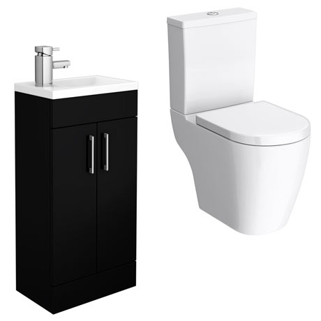 Kobe Gloss Black Cloakroom Floor Standing Unit + Close Coupled Toilet