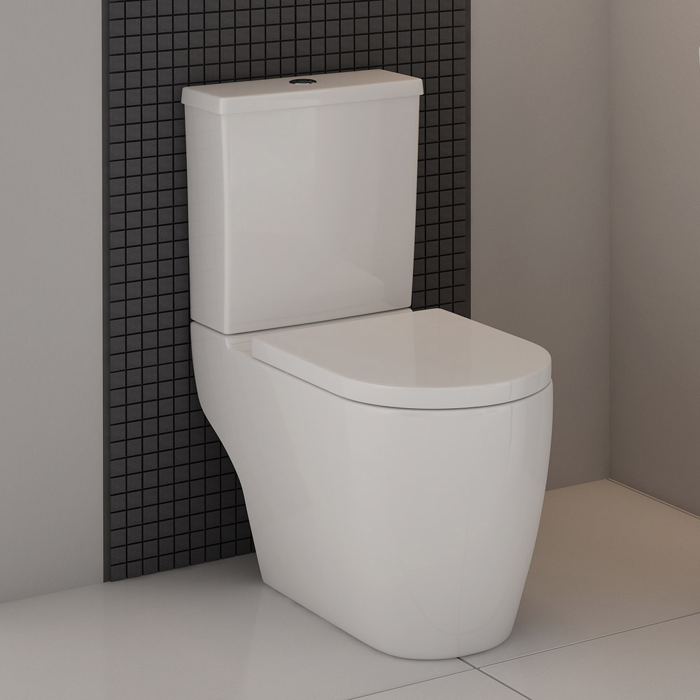 Kobe Gloss Black Cloakroom Floor Standing Unit with Close Coupled Toilet Profile Large Image