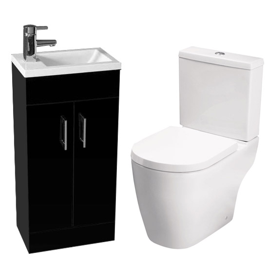 Kobe Gloss Black Cloakroom Floor Standing Unit with Close Coupled Toilet Large Image