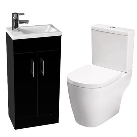 Kobe Gloss Black Cloakroom Floor Standing Unit with Close Coupled Toilet