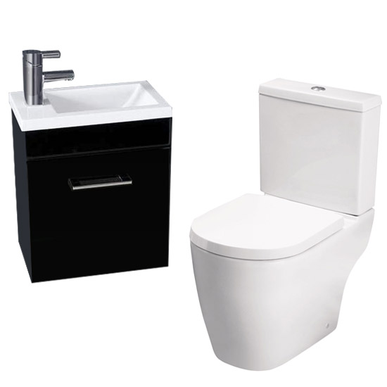 Kobe Gloss Black Cloakroom Wall Hung Unit with Close Coupled Toilet Large Image