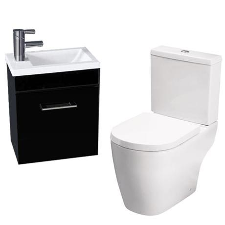 Kobe Gloss Black Cloakroom Wall Hung Unit with Close Coupled Toilet