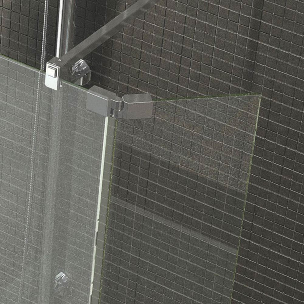 Kudos Ultimate2 300mm 8mm Glass Hinged Deflector Panel - Chrome profile large image view 1