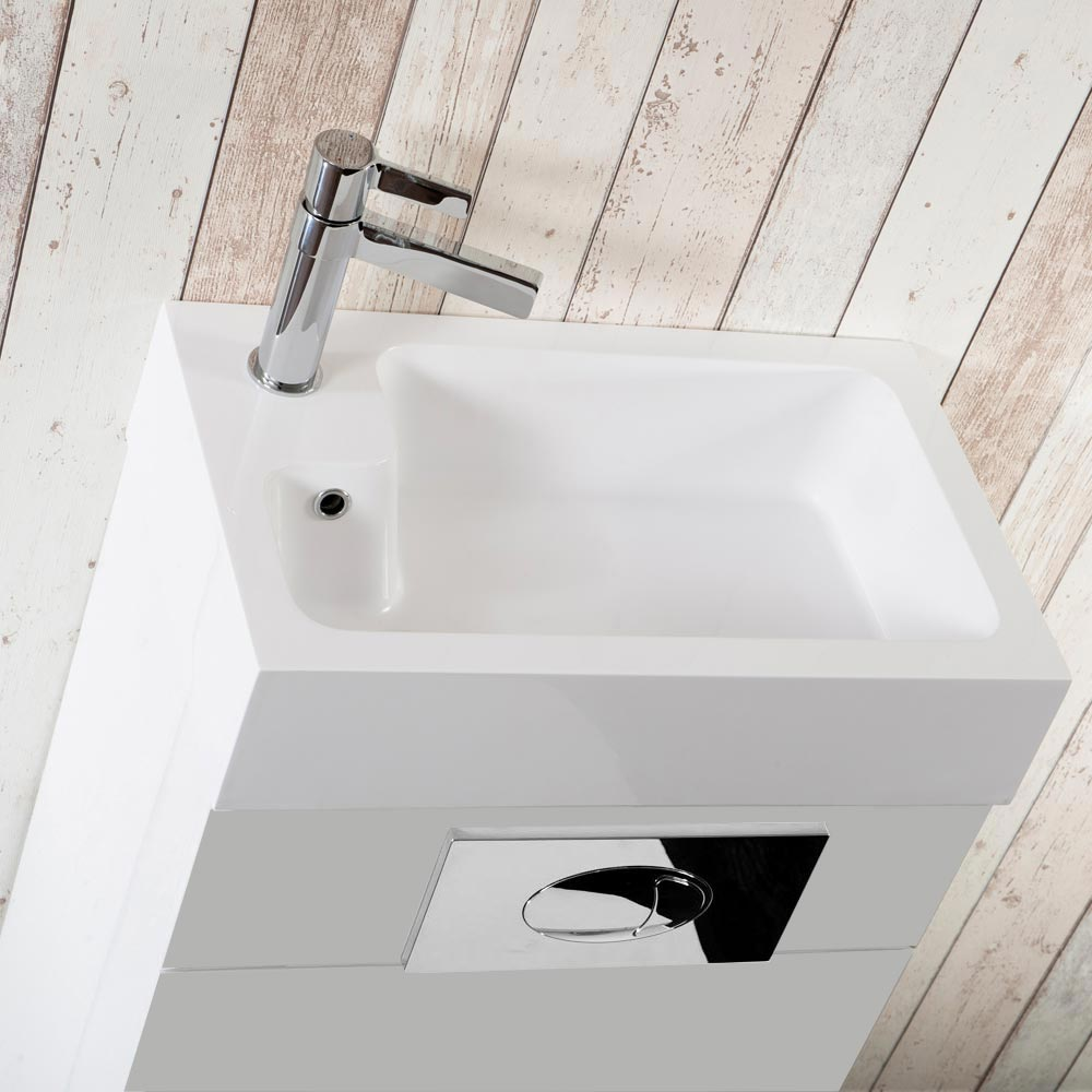Kyoto Combined Two-In-One Wash Basin & Toilet (500mm wide x 300mm) profile large image view 3